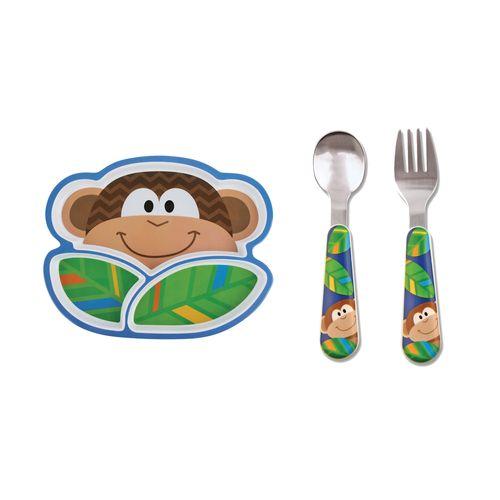 Kit-pratinho-infantil-e-talher-Stephen-Joseph-Macaco