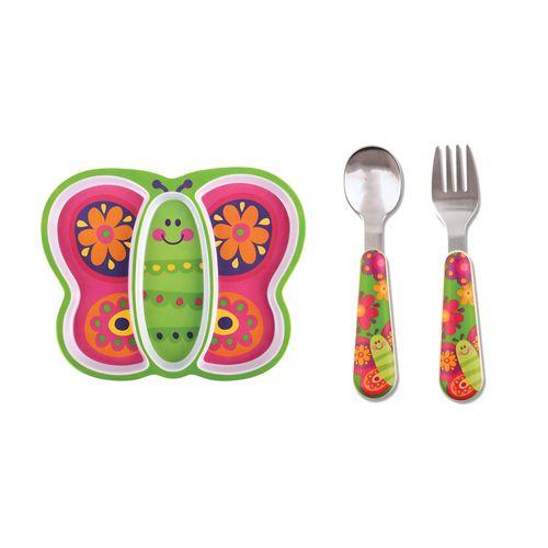 Kit-pratinho-infantil-e-talher-Stephen-Joseph-Borboleta
